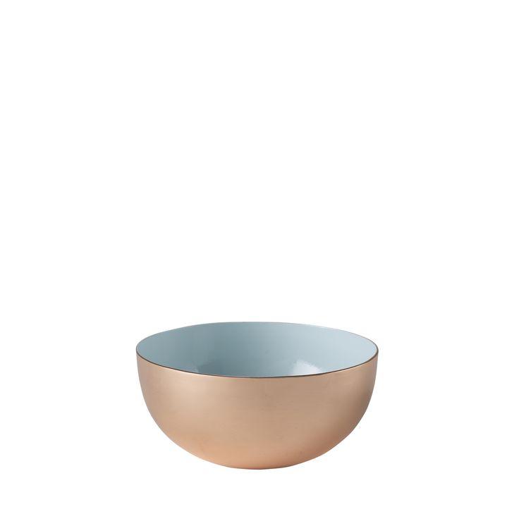 Louise Roe Copenhagen AW15 Enamel bowls in copper and brass. Certified foodsafe