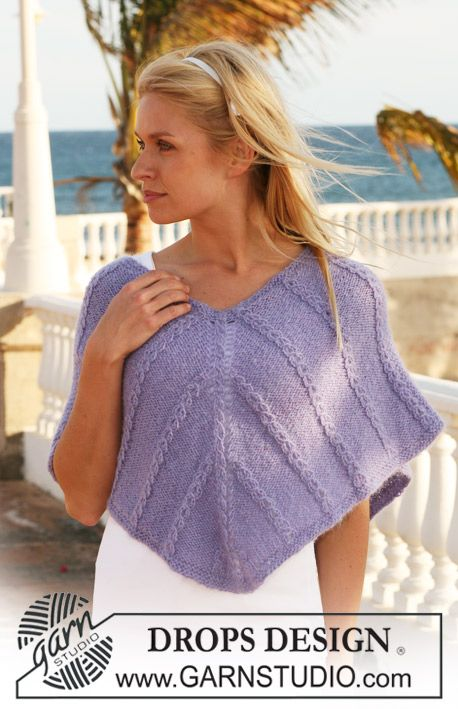 """DROPS shoulder wrap with cable pattern in """"Alpaca"""" and """"Vivaldi"""". Size S - XXXL…"""
