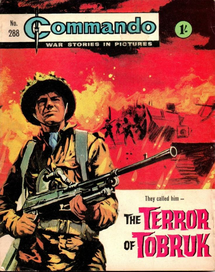 COMMANDO PICTURE LIBRARY NO 288 1967 THE TERROR OF TOBRUK    Tilleys Vintage Magazine Shop is a long established business offering sales of out of print Magazines, Comics, Annuals, Football Programmes, Books, Cigarette Cards, Postcards, Trade Cards and Advertising Prints to World Wide mail order customers and personal over the counter purchases in Sheffield. The business, was Established in 1978 and the owner has many years experience in the supply of Printed Collectables.
