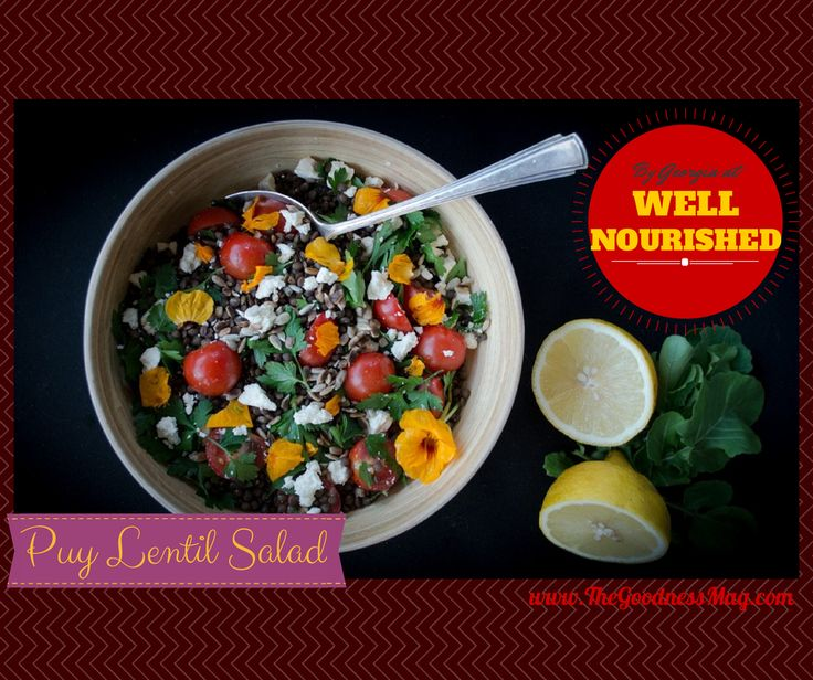 Thanks to Georgia from Well Nourished for this brilliant #glutenfree recipe contributed to The Goodness Magazine! #Raw Puy Lentil Salad with feta cheese - plus, The Goodness Mag offers #dairyfree suggestions if feta's not for you. Absolutely #scrumptious and you can get the recipe in our free mini issue --> http://bit.ly/thegoodnessmag