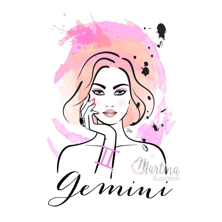 gemini horoscope sign zodiac fashion portrait illustration