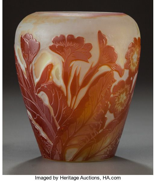 Art Glass:Galle, GALLÉ OVERLAY GLASS FLORAL VASE. Circa 1900, Cameo: Gallé.4-5/8 inches high (11.7 cm). ...