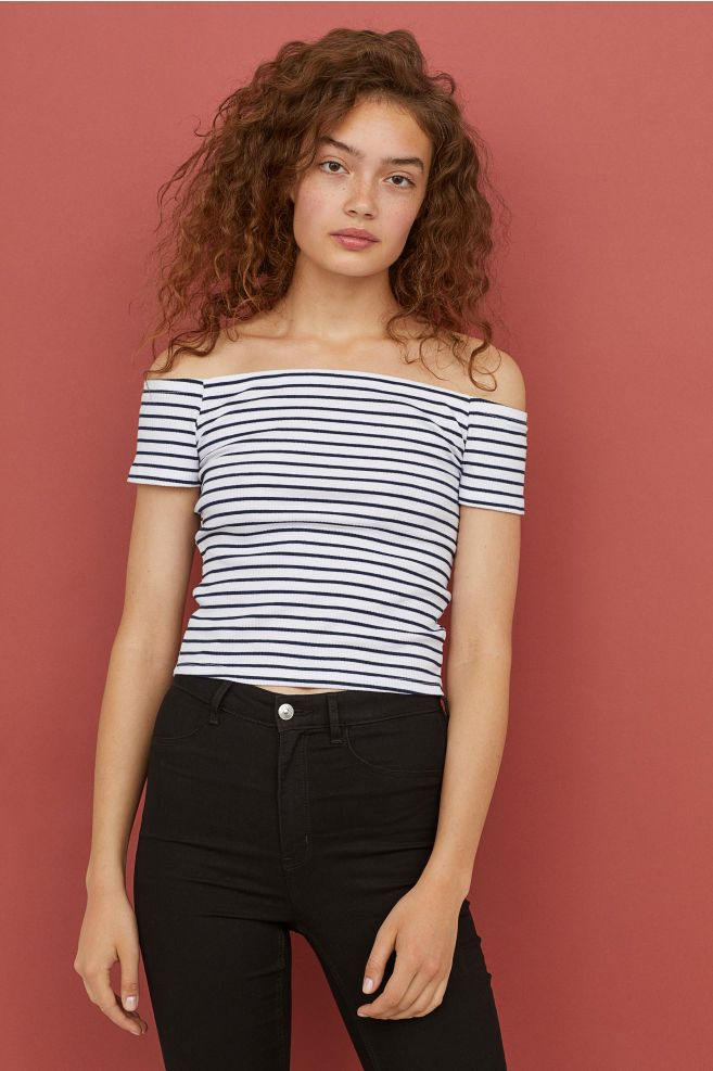 16d993964291d9 Ribbed Off-the-shoulder Top - Dark blue/White striped - Ladies | H&M US 1
