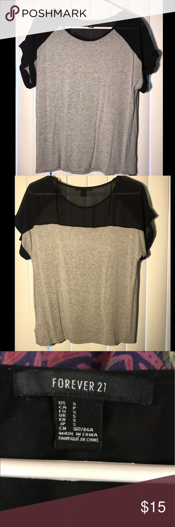 "Sheer shoulder Forever21 top Super casual yet fun! Size small but fits like a medium, I am 5'8"" and 130 lbs and it is loose on me. Tops Tees - Short Sleeve"