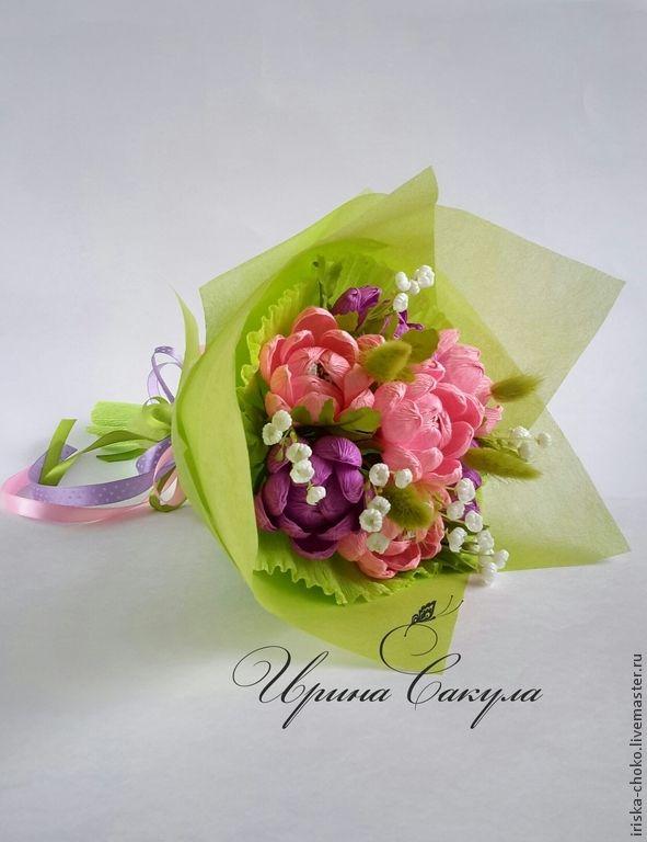 Купить Букет хризантем с конфетами - букет из конфет, сладкий букет, подарок, подарок девушке