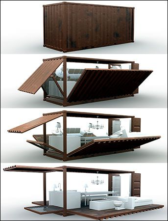 Adam Kalkin's Push Button House, a shippingcontainer unfolding to a small dwelling