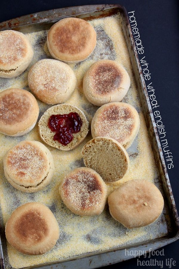 Homemade Whole Wheat English Muffins - Some things are just better done homemade, and when they're as simple as these are, there's no reason not to! They make the best breakfast sandwiches! www.happyfoodhealthylife.com #homemade #wholewheat