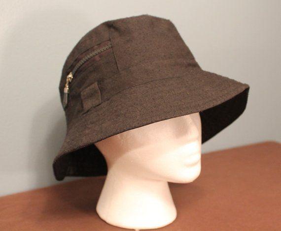 Vintage 1990 S Black Panel Bucket Hat With Zipper Stash Pocket 7 5 8 Vintage Outfits Hats Vintage Black Panels