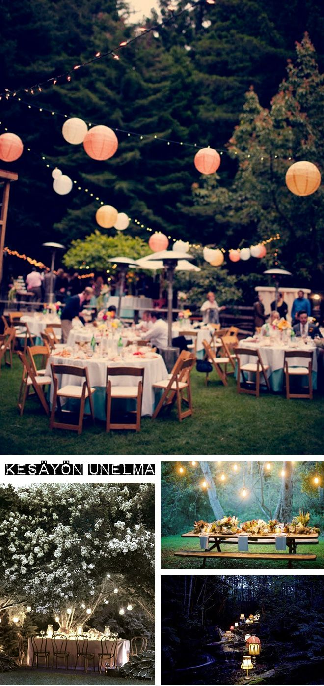 lanterns and string lighting, round tables, reception surrounded by trees