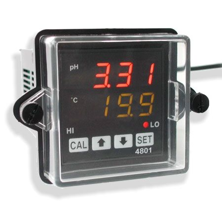 http://www.termometer.se/pH-Controller-for-fast-installation.html  pH-Controller för fast installation (Processmätning av pH och temperatur) - Termometer.se  Kompakt 1/16 DIN storlek passar i vanliga industri paneler. Mikroprocessor för tillförlitlig, noggrann mätning och kontroll av pH. Stor och super ljusstark LED display av pH (röd) och temperatur (grön) Bakre skruvplintar för ström, 2 uppsättningar av reläer, Pt 100 ingång och BNC för pH-ingång. NEMA-4X tätat frontskydde passar...