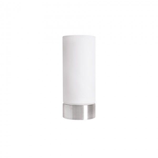 Abajur Incandela, base metal escovado e cupula fosca,  Medidas: 10x24cm,  Material: Metal e vidro,  Cor: Cromado e branco fosco