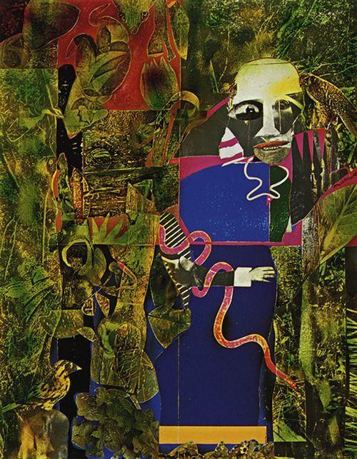 Romare Bearden, Conjur Woman, 1975, collage of various papers with paint and ink on wood, Allen Memorial Art Museum, Oberlin College