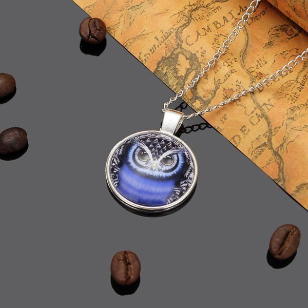 Lovely Owl Glass Cabochon Silver Plated Chain Pendant Necklace Unisex at Banggood