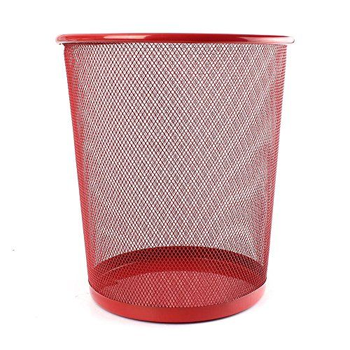 UOOU Mesh Round Wastebasket Recycling Bin, 18 Quart(4.5 Gallon )Capacity, Red  Mesh wastebasket offers a sleek industrial look and simple everyday convenience  Made of durable steel wire mesh; reinforced with solid metal base and solid edging along bottom and top rim  Large, round opening and tapered shape make sure trash goes into the can, not around it; wire mesh keeps the wastebasket well-ventilated, preventing the buildup of moisture and smells  Gently flared, cylinder shape with 1...