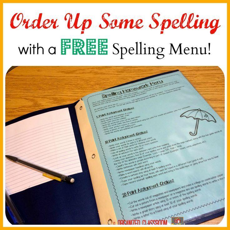 Spelling Homework Menu, A Well And Popular On Pinterest