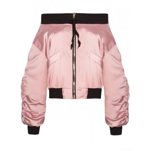Pink Satin Off The Shoulder Bomber Jacket (200 BRL) ❤ liked on Polyvore featuring outerwear, jackets, zip front jacket, satin jackets, blouson jacket, bomber style jacket and satin bomber jacket