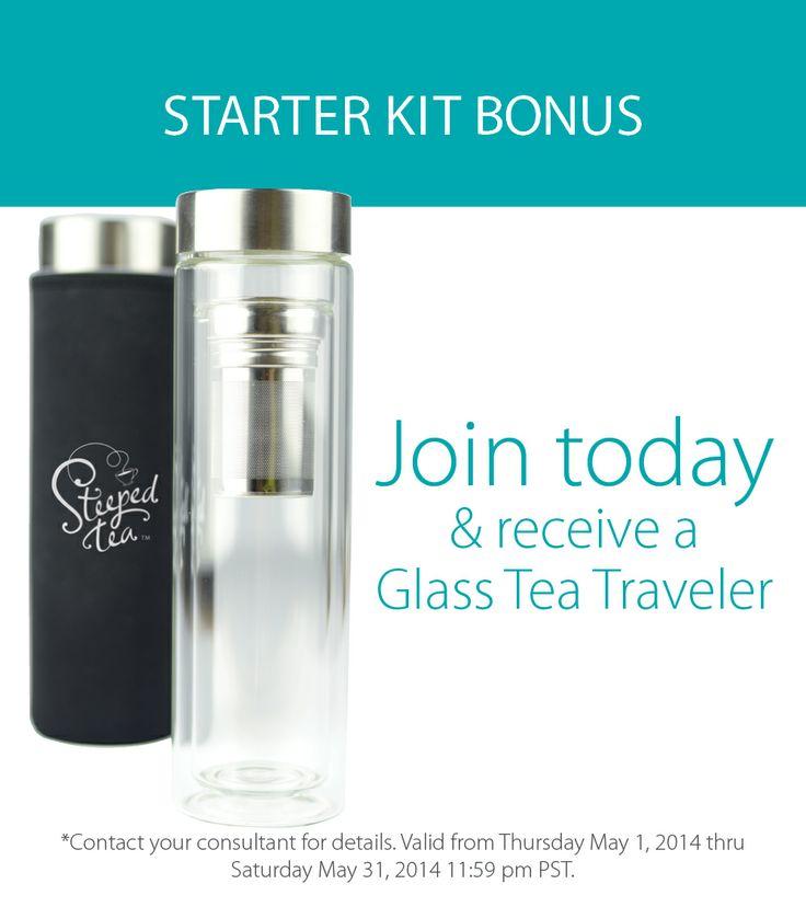 Join today & receive a Glass Tea Traveler