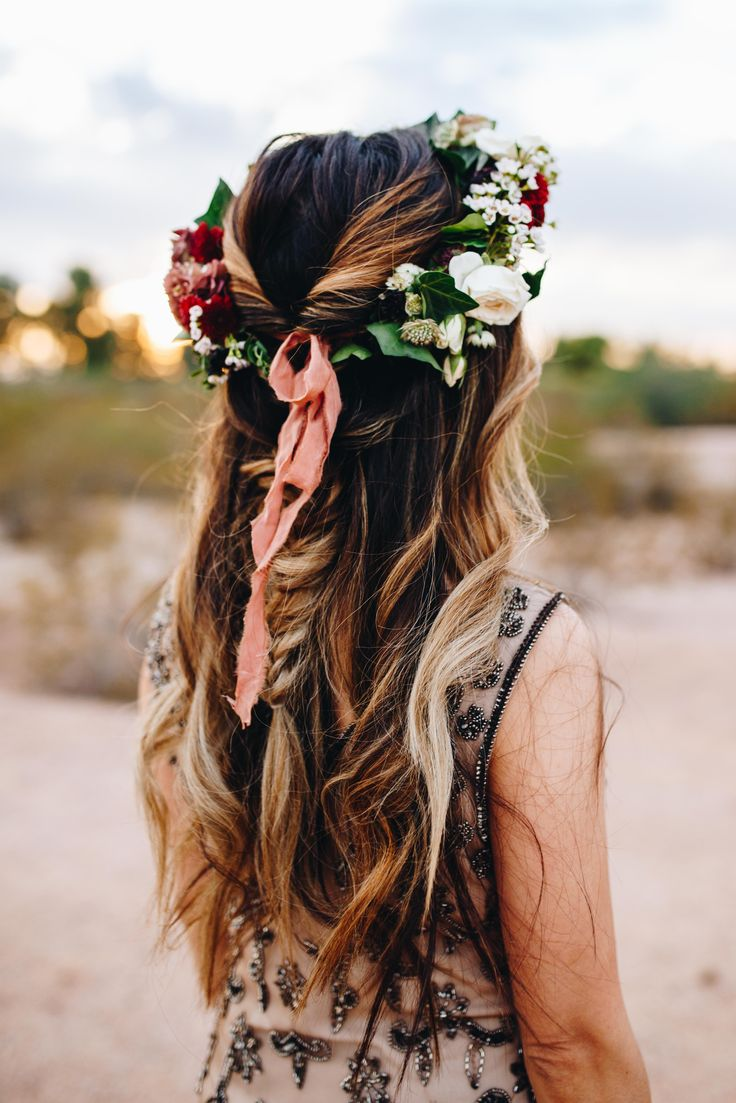 The most adorable boho vintage bride. Fall inspired flower crown by The Poppy Shop in Arizona.