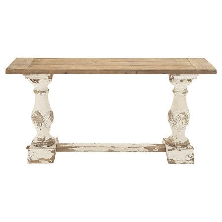 Brimming with rustic appeal, this wood console table features a weathered finish and turned column legs. Product: Console table...
