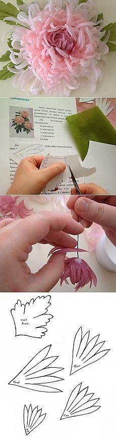 Цветы из ткани - учимся делать хризантему.