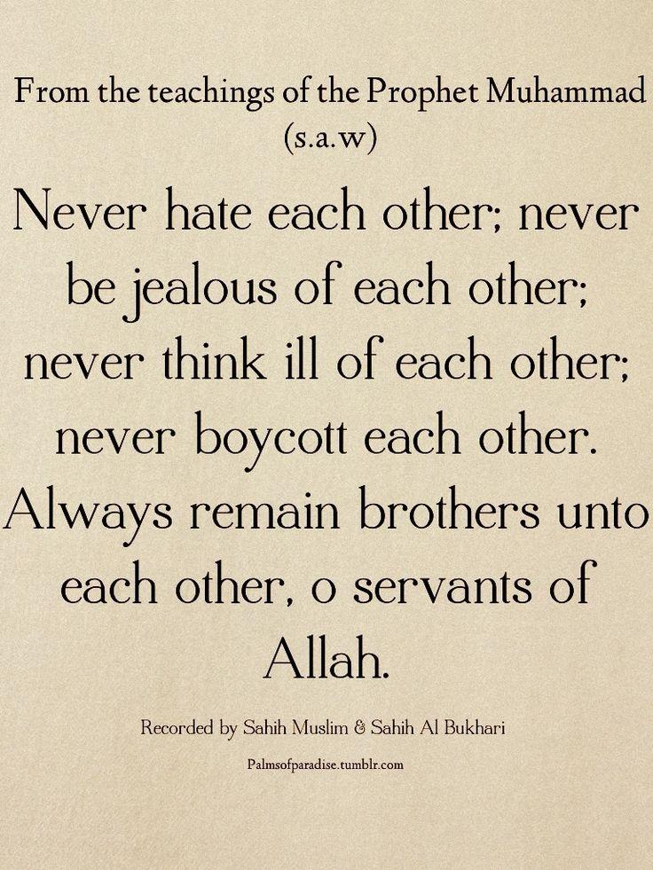 """""""Ne vous détestez pas les uns les autres, ne vous enviez pas les uns les autres et ne concevez pas de l'inimitié les uns contre les autres. Soyez, ô serviteurs d'Allah, comme des frères"""". Prophète Mahomet (paix et bénédictions sur lui)"""