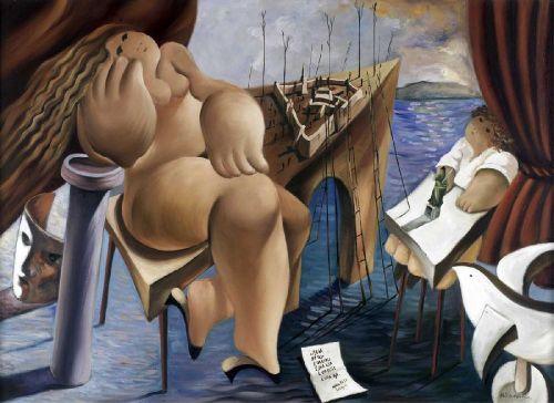 """Albino Moura, """"Lisboa"""", óleo s/tela, Dim.: 73 x 100 cm. - Palácio do Correio Velho - Leilões e Antiguidades, S.A."""