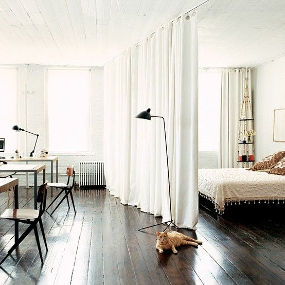 Divide space in large room or studio apartment with some strategically placed curtains.Ideas, Curtains Dividers, Interiors, Loft, Bedrooms, Small Spaces, Studios Apartments, Smallspaces, Room Dividers