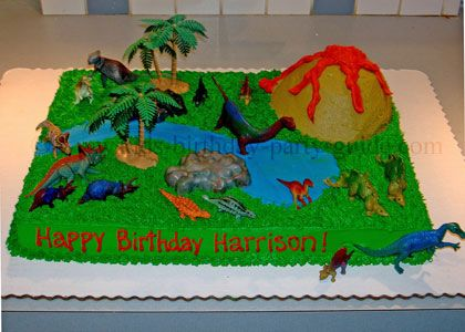 Cute idea for dinosaur cake for my son's fifth birthday.  Google Image Result for http://media.egotvonline.com/wp-content/uploads/2011/06/dinosaur-cake.jpg