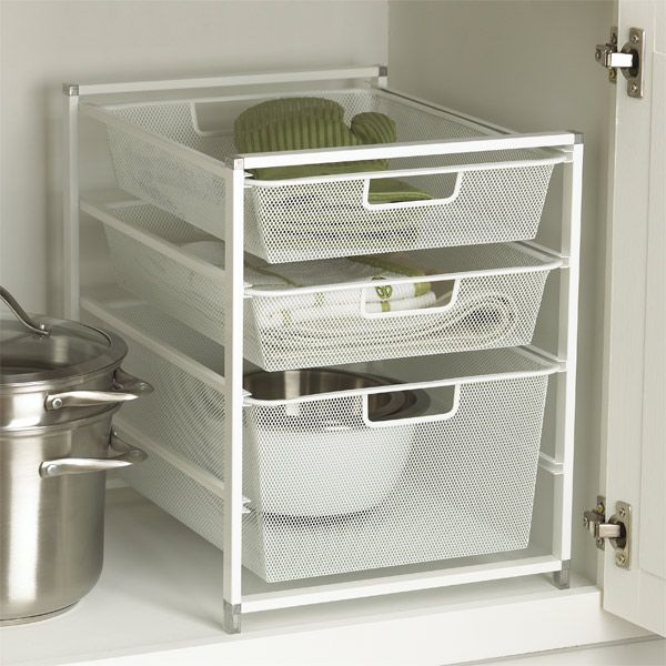 cabinet sized elfa mesh drawer solution 3