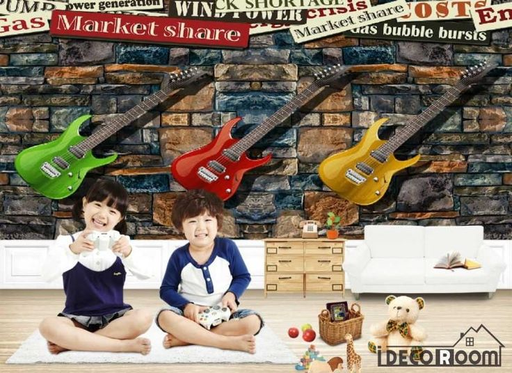 Stone Wall 3D Colorful Electric Guitars Hanging On Wall Living Room Art Wall Murals Wallpaper Decals Prints Decor