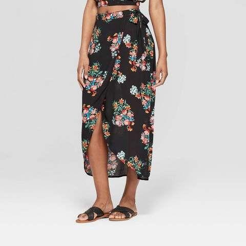 Xhilaration Women's Floral Print Wrap Maxi Skirt Black