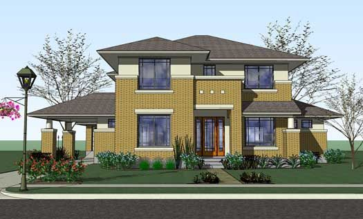Contemporary style house plans 3497 square foot home 2 for Prairie style garage plans