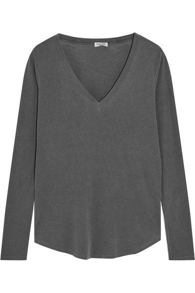 Splendid - Vintage Whisper Supima Cotton-jersey Top - Dark gray - x small