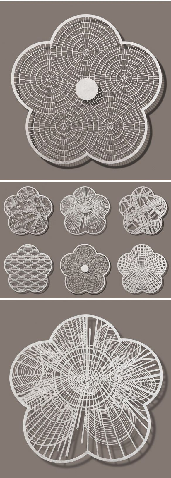 """bovey lee - cut paper from the """"plum blossom"""" series (pavers and rebar + a series overview)"""