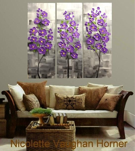 "Original 3 Panel Gallery canvas abstract  Modern 36"" palette knife signature Impasto floral Oil painting by Nicolette Vaughan Horner"