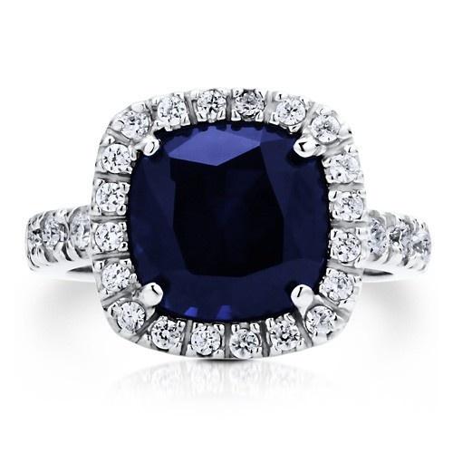 """Коктейльное кольцо на правую руку """"Сапфир"""" из стерлингового серебра с цирконом CZ огранки """"подушка"""" UAH 823.03"""
