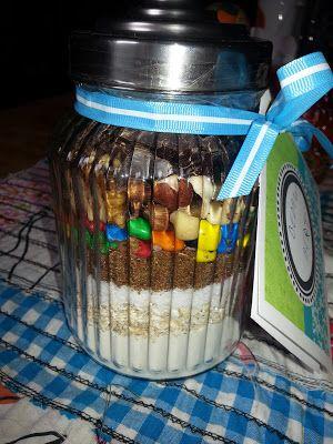 Recept voor lekkere koekjes, ook leuk om ingrediënten in een pot cadeau te doen!