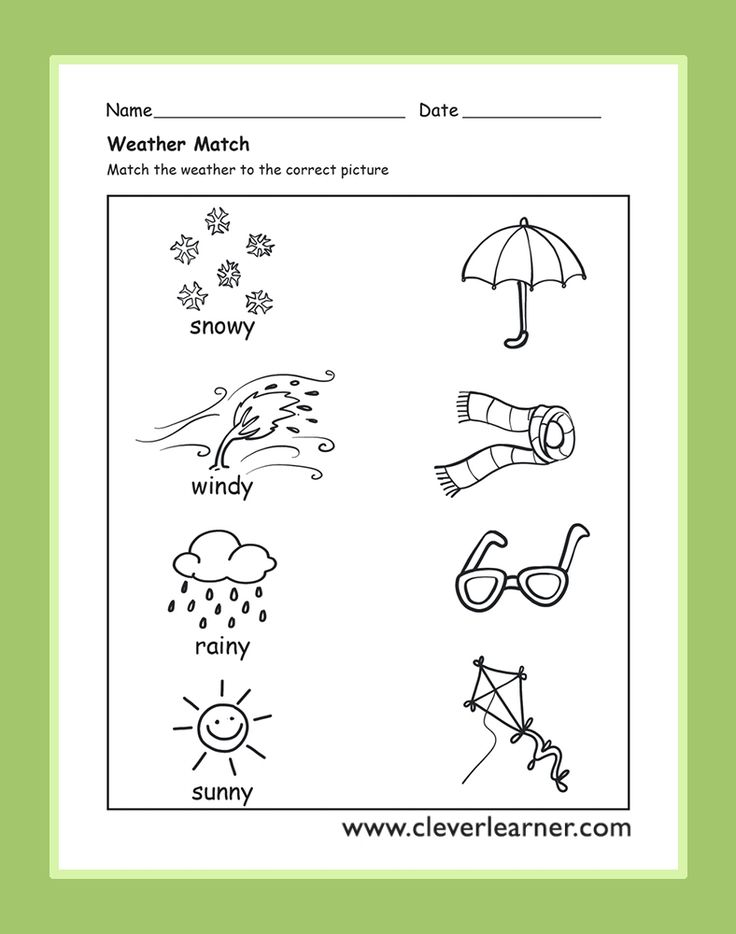 The Weather Activity Worksheets for preschool children #weather-worksheets #weather-activities #preschool-weather