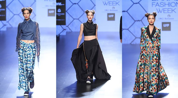 【Lakmé Fashion Week:Rimi Nayak】 Rimi Nayak's collection dominated with hand woven khadi cotton, satin and crepe. Ranging from white to an icy blue, the collection also saw a lot of surreal prints with hints of athleisure in easy and edgy silhouettes. We loved the super fun collection!