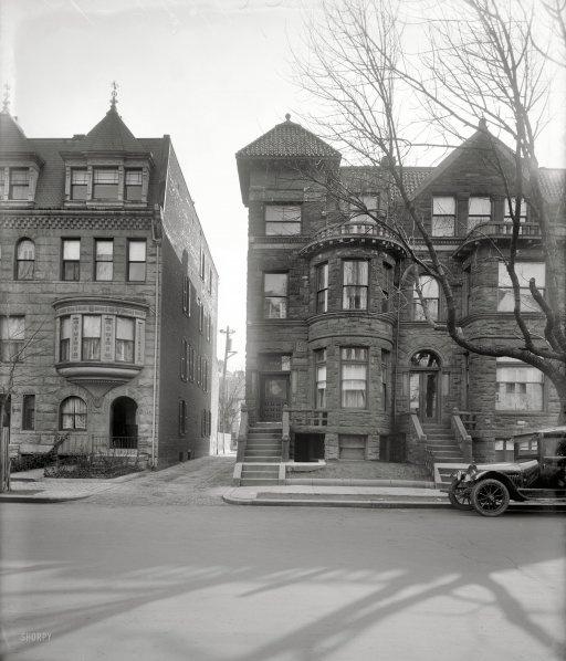 "Washington, D.C., circa 1920. ""Smallwood, 1726 P Street."" A variety of window treatments here."