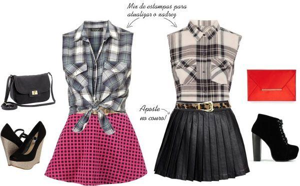 Looks femininos para Festa Junina com camisa xadrez e saia