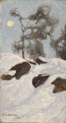 Pekka Halonen, Moonlight in 1913,  oil,  Snowscaped | Paint Watercolor Create http://paintwatercolorcreate.blogspot.com/2013/12/snowscaped.html