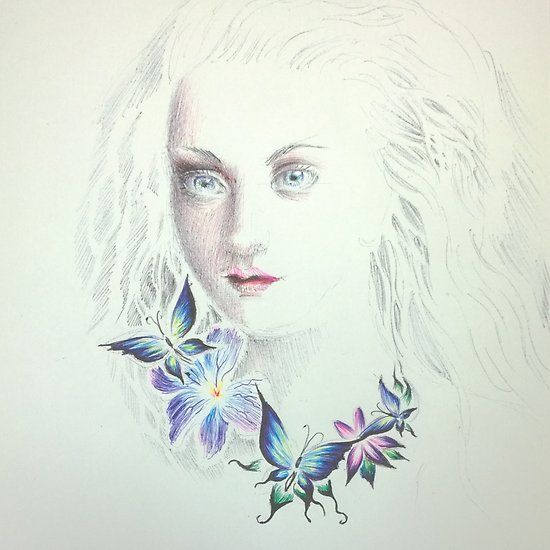 Girl portrait with butterflies