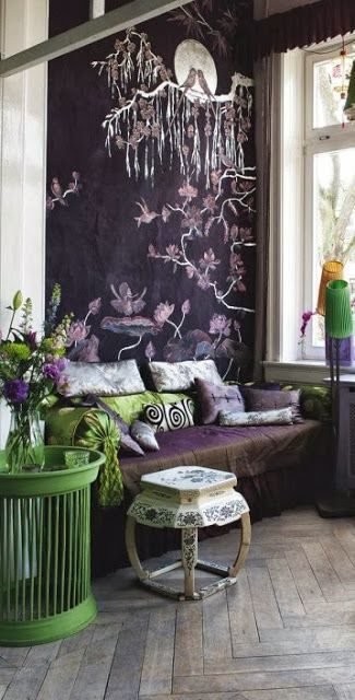 Dark dramatic Chinoiserie Chic branch and blossom theme wall with apple green highlight in table