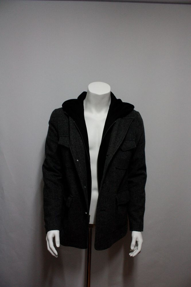 Men's Clothing Coat & Jacket with hood & herringbone pattern (GUESS)