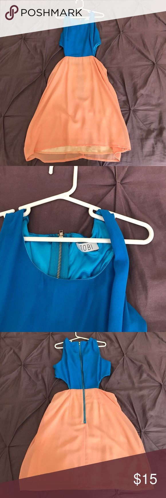 Tobi Women's blue and pink dress Blue and pink dress with side cut outs and zip up back. Never worn! Tobi Dresses Midi