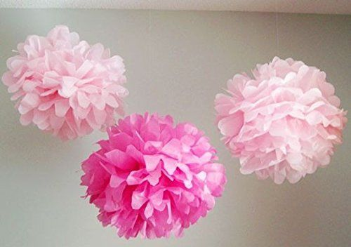 UMISSDECOR Cerise Pink Peach Tissue Paper Flowers Party Pompoms Wedding Bridal Shower Baby Shower Decoration in 6 8 10 12 16 Pack of 9 8 ** You can find more details by visiting the image link.Note:It is affiliate link to Amazon.
