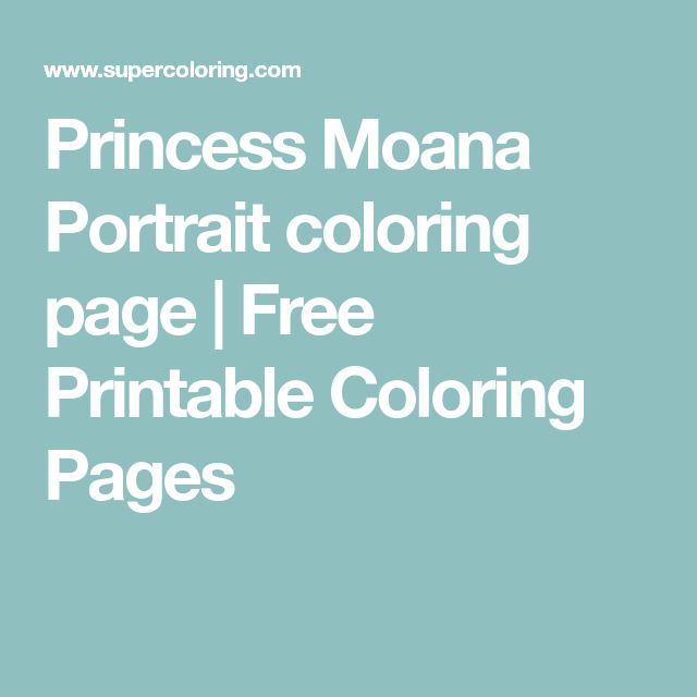 Princess Moana Portrait coloring page | Free Printable Coloring Pages
