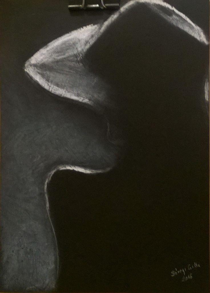 Kalapos nő. Women's hats. Pastel on black paper