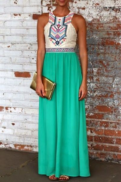Desirable Color Block Sleeveless Maxi Dress